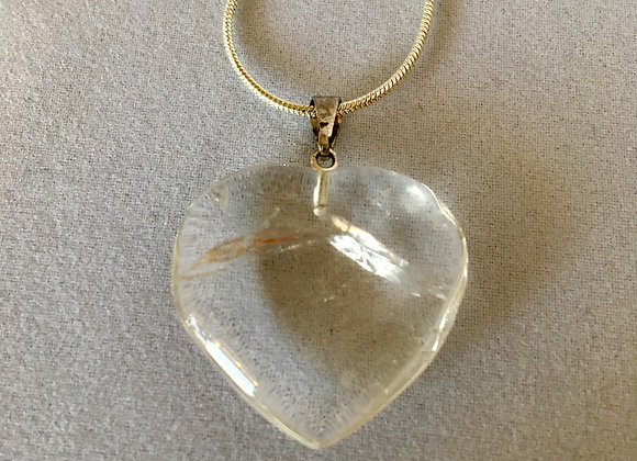 Clear Quartz Heart Sterling Silver Necklace