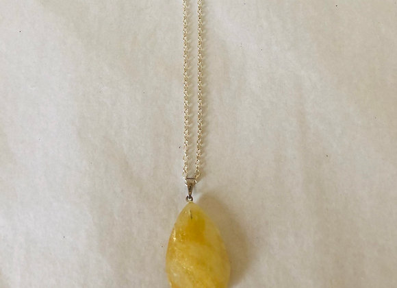 Citrine Teardrop Sterling Silver Necklace