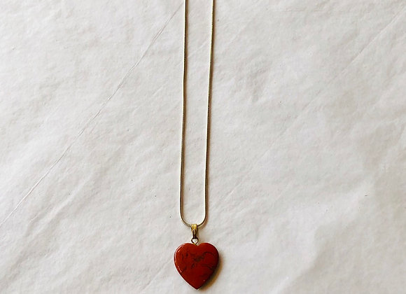Red Jasper Heart Silver Plated Necklace