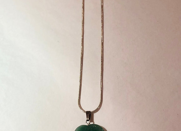 Aventurine Heart Silver Plated Necklace