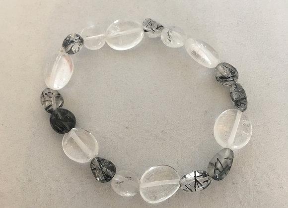 Clear Quartz and Tourmalated Quartz Elasticated Bracelet