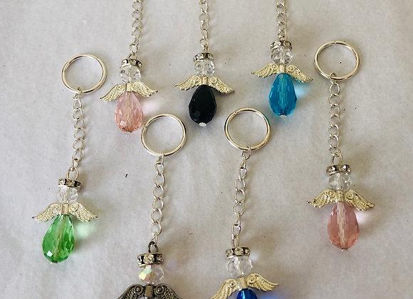 Glass angel keyrings/bag charms