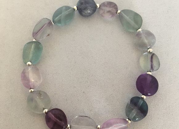 Fluorite with Silver Coloured Spacers Elasticated Bracelet