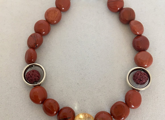 Red Jasper and Citrine with Lava Beads Wired Bracelet