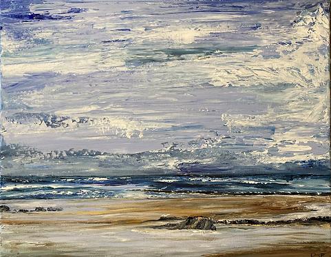 New Quay Beach Print on Canvas