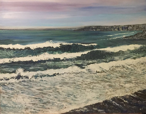 From the Beach at Aberporth Print on Canvas