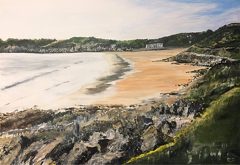 Caswell Bay, The Gower Peninsular Print on Canvas