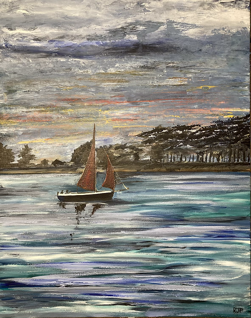 Red Sails in a Norfolk Sunset Print on Canvas