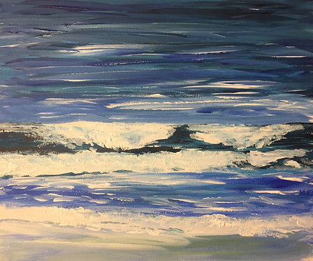 Seascape Sketch Looking Out from Aberporth Beach