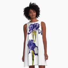 Iris Print A-Line Dress