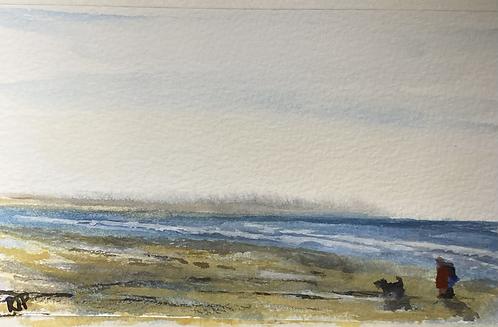 Walking on Holkham Beach Fine Art Print