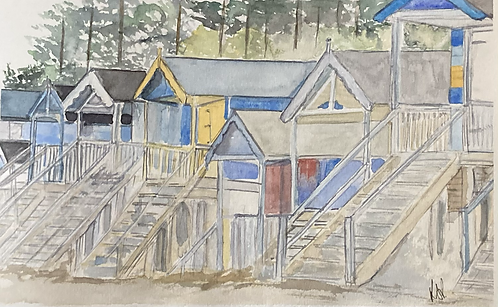 Wells Beach Huts Fine Art Print
