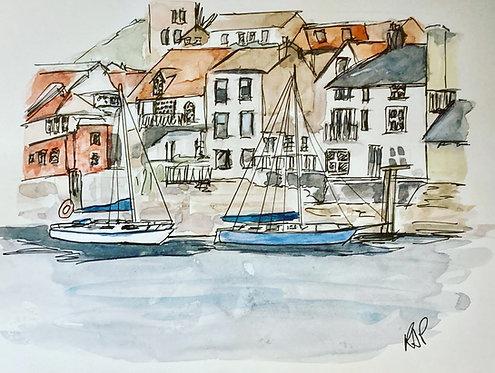 Whitby Waterfront - Original Pen & Wash