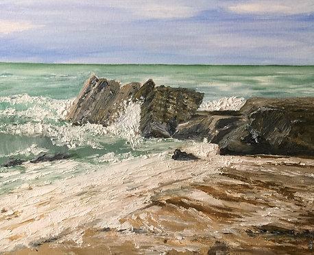 New Quay Beach Oil on Canvas