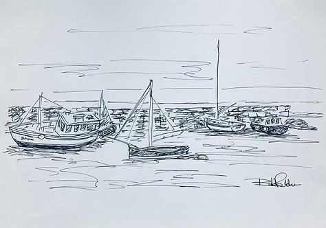 Boats on New Quay Beach Fine Art Print