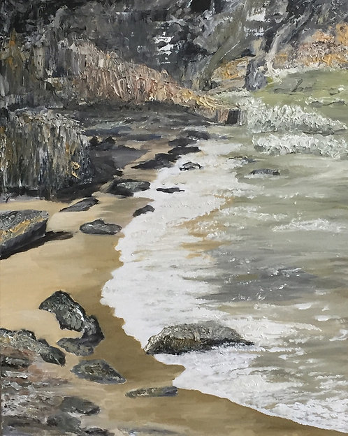 Fishguard Rocks Oil on Canvas