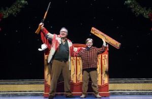 Chris Carsten as Jean Shepherd and Myles Moore as Ralphie in A Christmas Story, The Musical. Photo by Jesse Scheve.