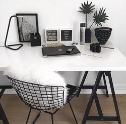 Fourrure bureau inspiration interieur monochrome noir et blanc