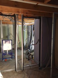 rénovation de l'électricité avec cloison