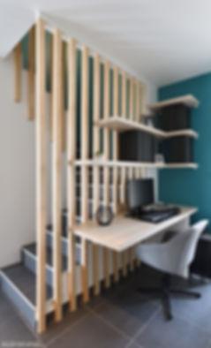 espace bureau avec tasseaux pour délimit