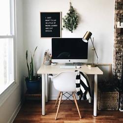inspiration bureau amenagement decoration naturelle plante apple briques desk deskroom