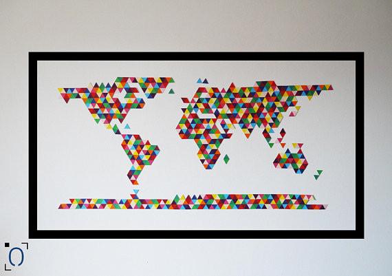 carte di monde colorée avec cadre noir