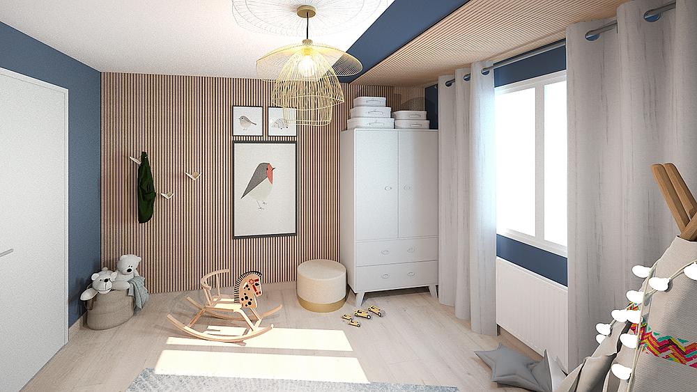 Prestation de décoration d'intérieur d'une chambre d'enfant bleue