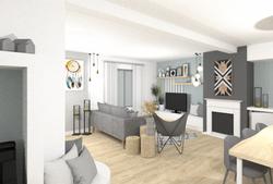 Visuel 3D de l'aménagement d'un salon moderne et scandinave dans le nord de Lyon par Tiffany archite