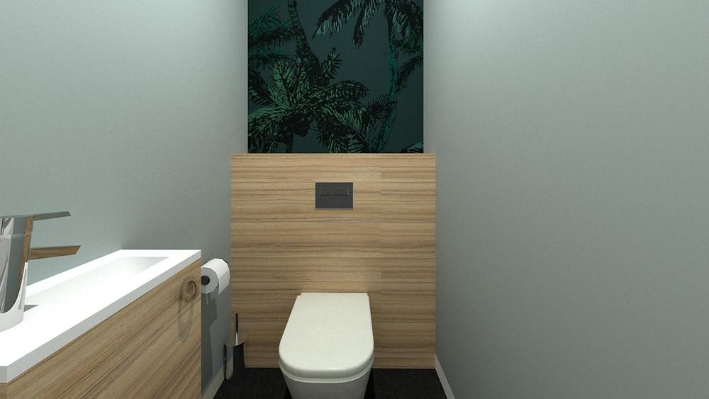 Décoration d'un W.C. style tropical vert avec papier peint tropical et bois