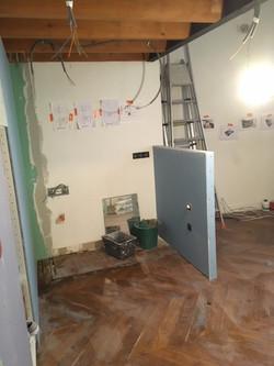 construction d'un muret pour la verrière