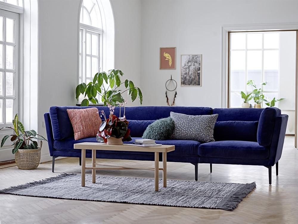 décoration intérieure canapé bleu Klein - tendance scandinave