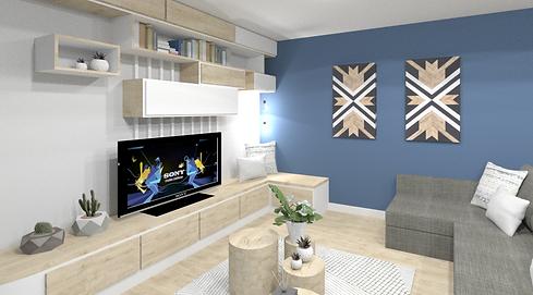 salon sjour décoré scandivane style hygge et contmporaine, tasseaux de bois blanc et mobiler télévision sur mesure en stratifié Egger frêne de Lyon sable.