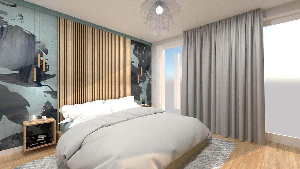 Tete de lit d'une chambre parentale pour un appartement acheté en VEFA à lyon