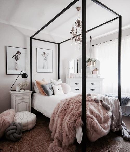 chambre inspiration deco ambiance nordique contemporaine chaleureuse cadre noir coussin noeud bloomi