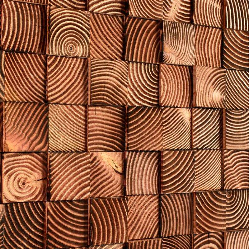Parement mural en bois massif brulé. - Carresol.