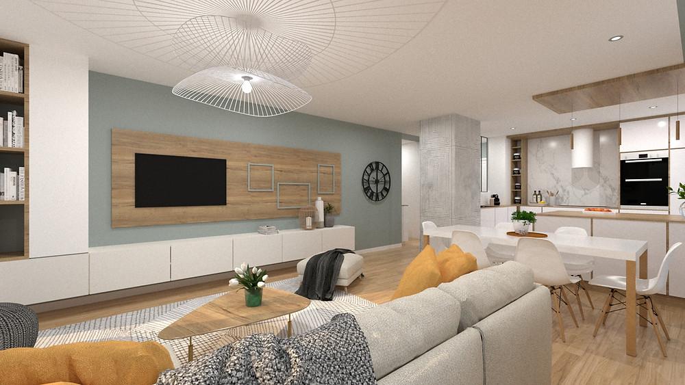 Projet d'aménagement du salon d'un bien en VEFA par l'Agence TGF - Tiffany Fayolle.