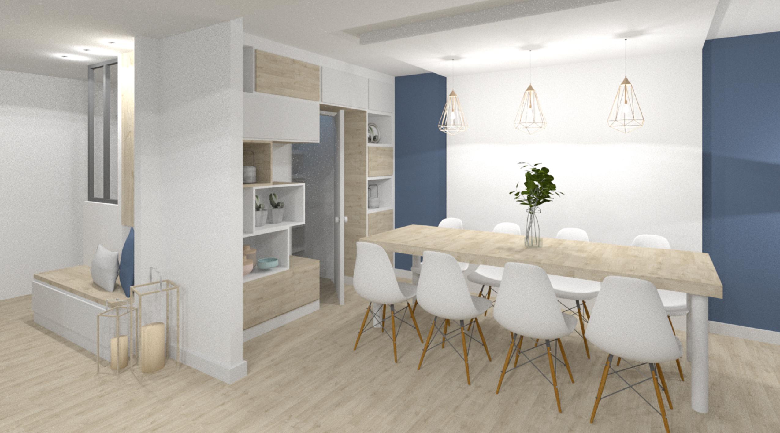 rénovation avec agencement sur mesure d'une salle à manger avec rangements sur mesure fonctionnel ré