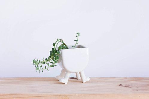 Cache-Pot en céramique à 4 pattes. Forme Arrondie.