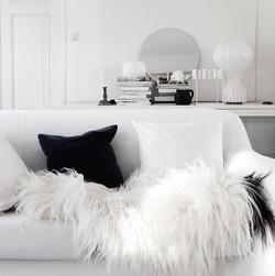 inspiration plumes fourrure interieur monochrome noir et blanc