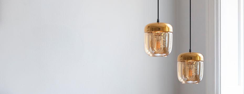 luminaire ACORN image verre fumé dorée