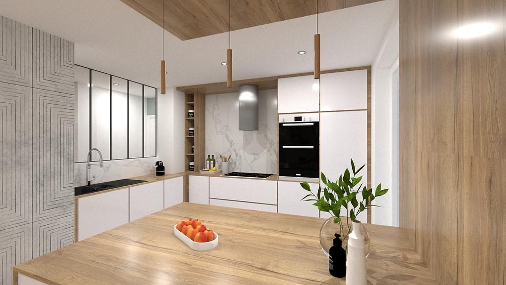 Cuisine aménagée pour un logement acheté sur plans en VEFA
