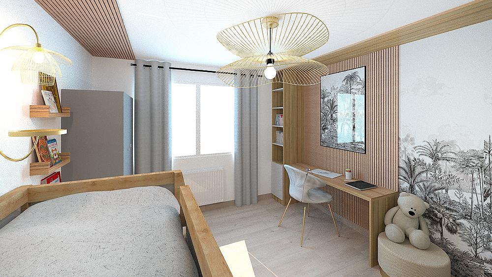 Décoration d'intérieur et aménagement d'une chambre d'enfant avec lit en hauteur près de Lyon