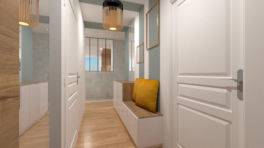 Aménagement d'une entrée avec rangements et banquette pour un appartement en VEFA