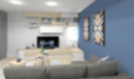 décoration d'un salon, avec moblier sur mesure pour bibliothèque et meuble TV en blanc et bois style scandinave lyonnais