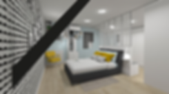 decortion d'une chambre parentale au nord de lyon par l'agnce Tiffany Fayolle avec papier peint ferm living et accessoies jaunes moutarde du showroom Utopium Concept Store