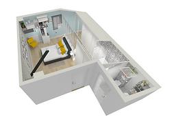 chambre parentale avec salle de douches et sanitaires a l'etage,renovation a lyon