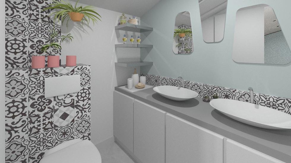 salle de douches ave WC suspendus et carreaux ciment ciment gis equipe de vasques a poser d forme ovale et trio de miroir presen time. projet tiffany fayolle architcte d'interieur et decorateur a lyon