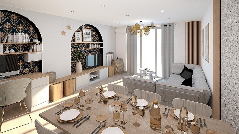 Décoration d'intérieur d'un salon et d'une salle à manger avec création d'un espace bureau près de Lyon