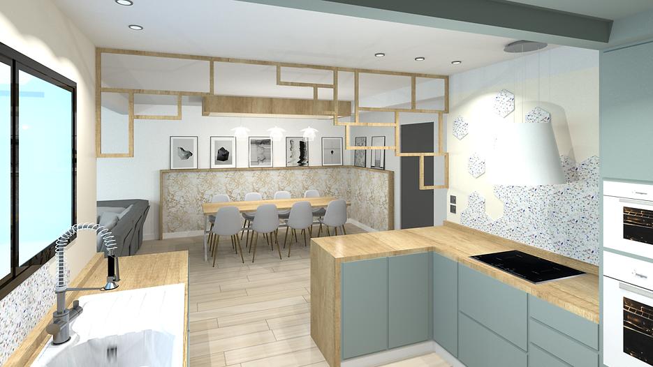 cuisine aménagée avec salle à manger sur