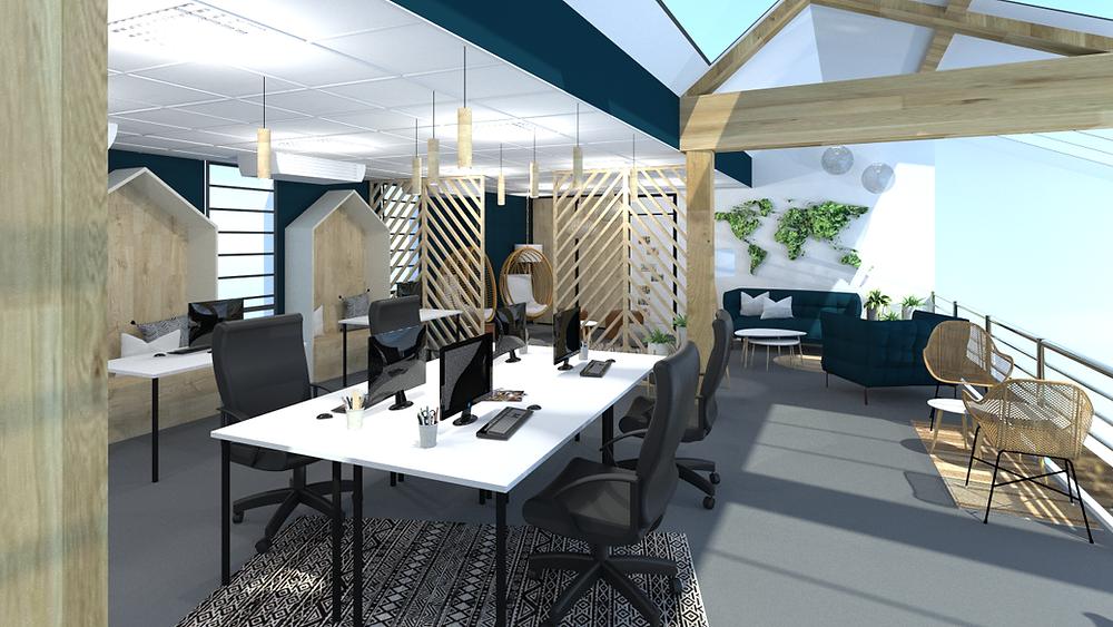 Aménagement de bureaux à Lyon par TGF - Tiffany Fayolle pour une célèbre marque de vente de décoration en ligne.